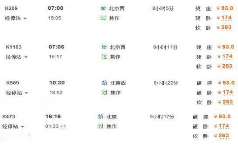 北京到云台山的火车时刻表