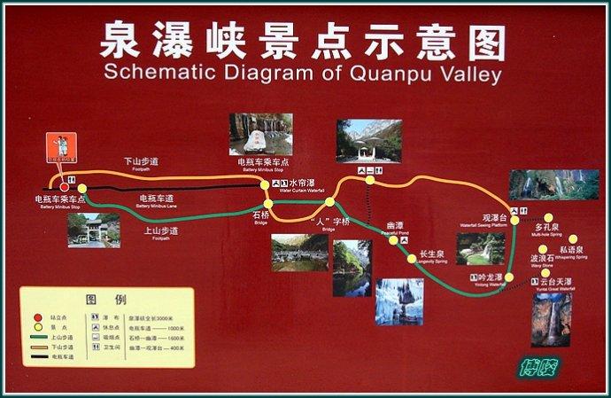 云台山泉瀑峡景点示意图