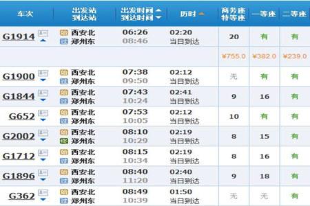 西安到郑州高铁