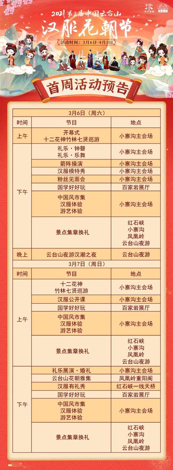 云台山汉服花朝节开幕首周活动内容